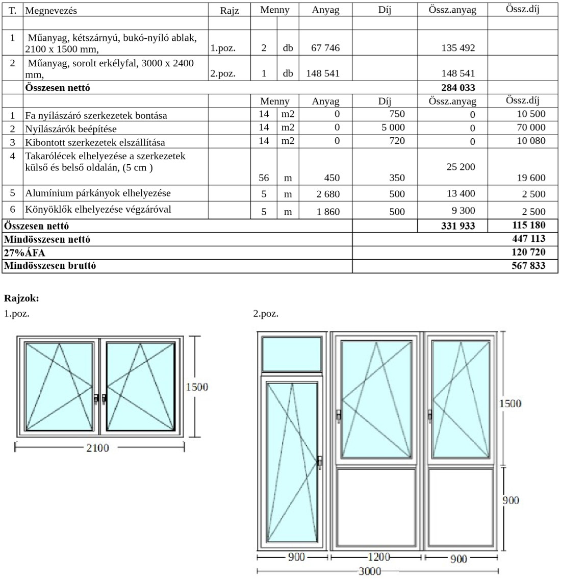 Panel ablakcsere árak - 4. tipus